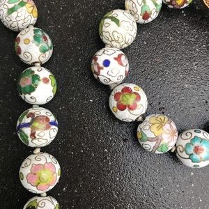Italian NECKLACE BRACELET set HAND PAINTED beads